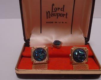 Lord Newport Wraparound Cufflinks and Tie Tack, Original Box