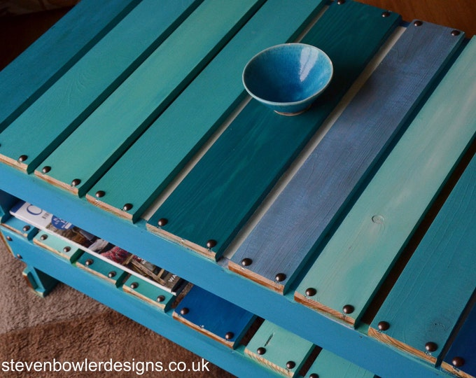 Bespoke Reclaimed Wood Coffee Table Boat Wood Style Finish Harbour Lights Colour Scheme with Handy Storage Shelf Handcrafted to Order