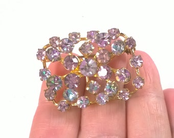 Aurora Borealis Brooch - Gold Tone Lilac Blue - Vintage Costume Jewelry Pin - Retro Sparkle Crystal 1960s