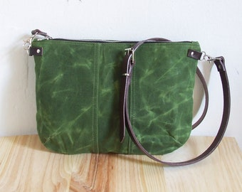 Small Waxed Canvas Bag, Waxed Canvas  Crossbody Purse, Zipper, Leather Straps