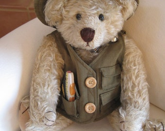 "Vintage Handmade 15"" Mohair Teddy Bear Signed by the Artist 1994 Sport Fishing Removable Attire"