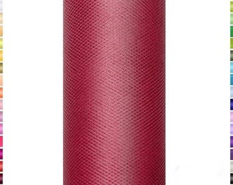 Burgundy, thin and soft tulle, 15cm wide coil 9 meters