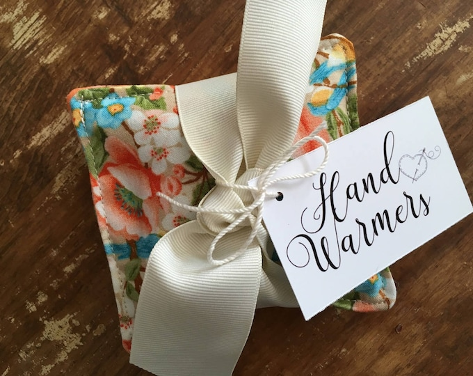 Featured listing image: Pretty Floral & Dot Hand Warmers with Vanilla Scented Flax Seed
