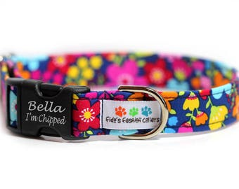 Engraved Floral Dog Collar, Personalized Dog Collar, Forget me not