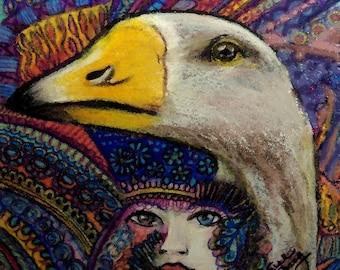 original art drawing zentangle goose woman color pencil drawing wall decor 5x5 framed