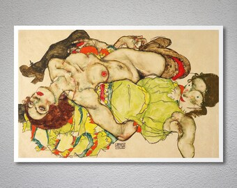 Two Woman, 1915 by Egon Schiele, Poster Print, Sticker or Canvas Print / Gift Idea