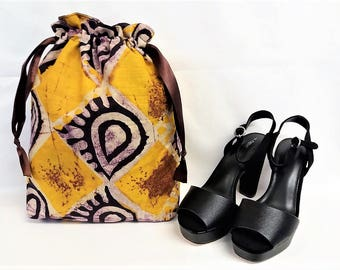 African Batik Print Drawstring Multi-Purpose Travel/Undergarment/Accessory/ Shoe Bag