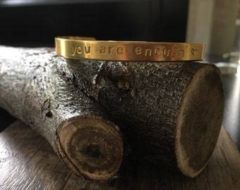 Hand stamped cuff bracelet gold