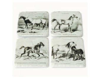 Ceramic Antique/Vintage Horse Coasters. Drinks mats. Set of 4 Coasters. ES7119