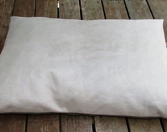 Pet Bed Duvet Cover Faux Suede in Tan & Green Twill, Canine Cloud Dog Bed Cover 34 x 24, Pet Furniture, Gift