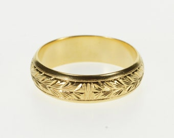 14K Ornate Etched Leaf Pattern Wedding Band Ring Size 8.75 Yellow Gold