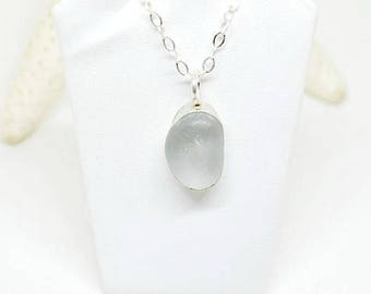 Sea Glass Bezel Necklace, Sea Glass Jewelry, Sterling Sea Glass Necklace, Lake Erie Jewelry, Beach Necklace, Gray Seaglass Necklace