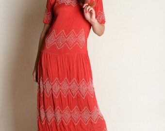 Vintage 1920s Beaded Dress - Flapper Coral Red Sheer Gown - Medium Large