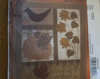 McCalls M5202, Fall wall hanging or quilt block, UNCUT sewing pattern, craft supplies