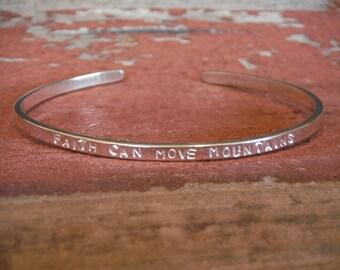 Bible Verse Custom Thin Sterling Silver Cuff Bracelet