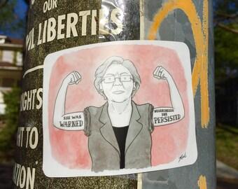 """Sticker of New Yorker cartoon """"Elizabeth Warren - She Persisted"""""""