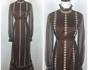 Vintage 70s dress / 1970s dress / Emma Domb / maxi dress / floral dress / mod dress / hippie dress / novelty print / Dress 70s 7010