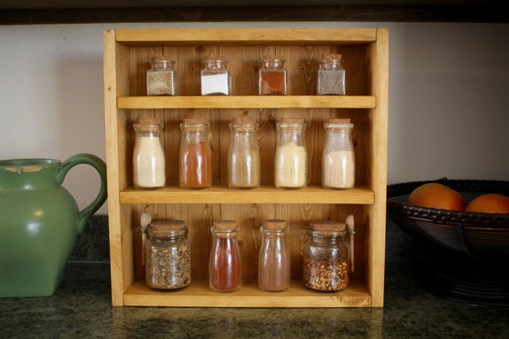 Rustic Wooden Spice Rack, Wooden Spice Rack, Kitchen Rack, Wedding Gift, Housewarming Gift, Spice Rack, Wood Shelf, Kitchen Shelf, Farmhouse