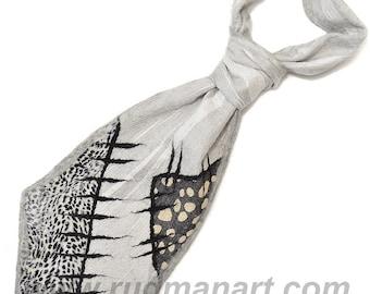 Felted Scarf Tie Necktie Wool Silk Felt nunofelting Grey Black and beige spots