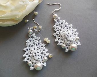 White tatted earrings, lace jewelry, bridal tatting earrings, unic lace  earrings, delicate wedding earrings,gift for her,