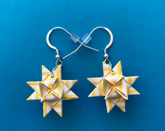 Moravian Star Earrings—Yellow & White Stripes