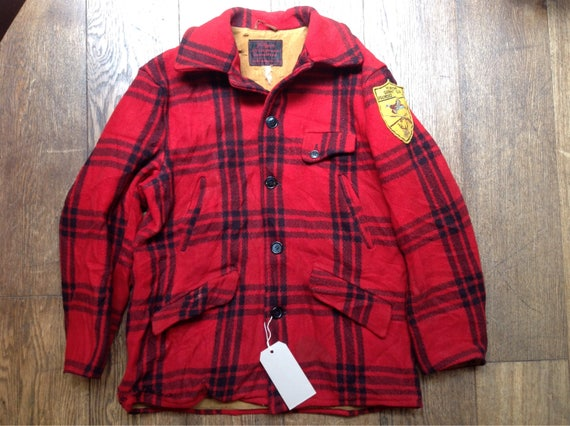 "Vintage 1950s 50s 1960s 60s JC Higgins buffalo plaid wool hunting jacket gun club patch 44"" chest rockabilly red black checked"