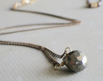 pyrite necklace copper, short pyrite necklace, gold pyrite necklace, pyrite jewelry, layering necklace, mixed metal jewelry