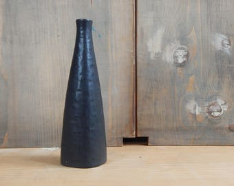 Scandinavian Vintage Ceramic Bottle/ vase Black Semi Matte Vase
