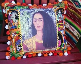 Frida Kahlo Pillow FRIDA Day of the Dead Design, Gourds