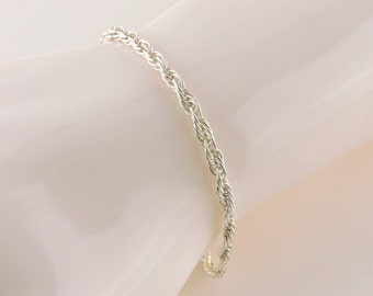 """Sterling Silver Rope Chain Bracelet 7 1/2"""" x 3mm"""
