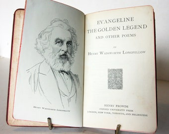 Longfellow Poems Evangeline, The Golden Legend and Other Poems 1900s Softback Vintage old Book Red old books Literature Poems