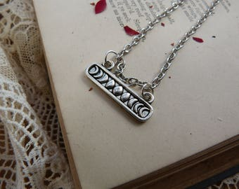 Moon phase necklace - silver plated -