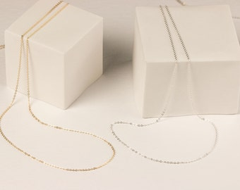 Delicate Thin Chain Necklace / Ultra Dainty Layering Necklace / Thin Gold Chain, Sterling Silver, Rose Gold Fill, 14k Gold Fill Chain LN001