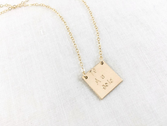 gold element au periodic table necklace 14k gold filled atomic number science gold symbol square hand stamped precious metal - Au Pendant Periodic Table