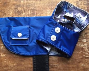 Lightweight Blue Dog Raincoat, dog rain coat, 4 sizes, sailboats, dog jacket, dog coat for girl, dog coat for boy, blue dog coat