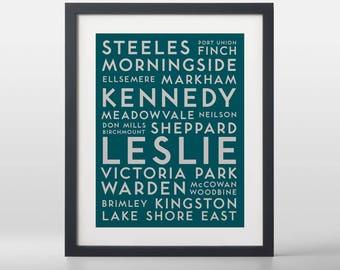 Toronto East City Streets Typography Art Print