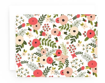 Blooming Wreath Stationery Notecards, Floral Folded Note Card Set of 8