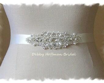 Pearl Bridal Sash, Rhinestone Crystal Pearl Bridal Belt, Jeweled Pearl Wedding Belt, Pearl Crystal Bridesmaid Sash, Wedding Sash, No. 4040S