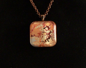 Old Fashioned Girl on Swing Glass Pendant Necklace