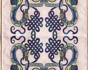 Celtic Dragon Tea towel
