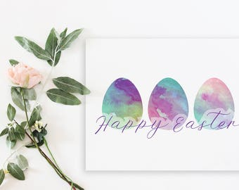Happy Easter- Egg Printable | Easter Decor | Easter Printable | Watercolor Easter Print | 8x10 | 5x7