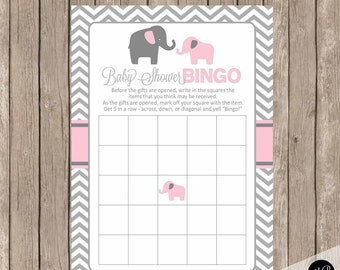Elephant Baby Shower Bingo in Baby Pink and Gray - Baby Shower Bingo Fill In Game - shower game, elephant theme - INSTANT DOWNLOAD pe1