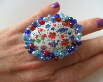 Liberty fabric, blue white red, hand embroidered, Ring or Brooch, floral, by NewellsJewels on etsy