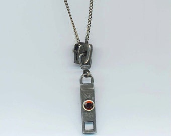 Brass Zipper Pendant .  Zipper Mens/ Women Necklace. Brass Chain . Found Zipper Pull . Steampunk Jewelry - Shut Up! by enchantedbeas on Etsy