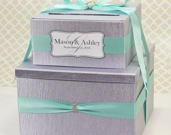 2 Tier Wedding Card Box Silver and Aqua Blue Money Gift Holder Custom Made