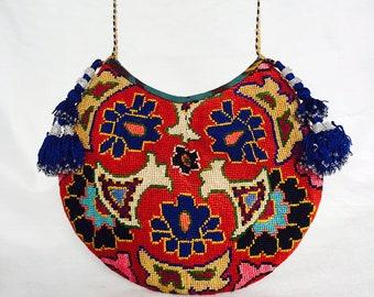 Embroidered Crossbody Handbag Purse Moon Shaped Silk Petit Point Needlepoint Ethnic Tribal Uzbekistan Boho Festival Ikat Tassel Folk Art