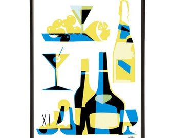 """Cabin Cocktails pop art print - the """"Mid-Century Jet Set"""" collection inspired by retro air travel - Bar Cart Art"""