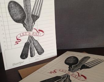 Lasst uns essen - 24-Pack Letterpress gedruckt Abendessen Einladungen