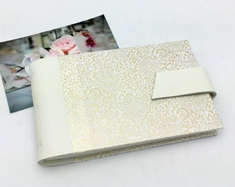 Wedding Mini Photo Album, Ivory Leather and Gold Mandarin, Anniversary Gift, Personalize It