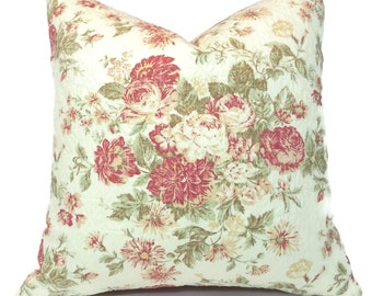 """Cottage or Bungalow One of a Kind Quilted Floral with Plaid Back  20"""" x 20"""""""